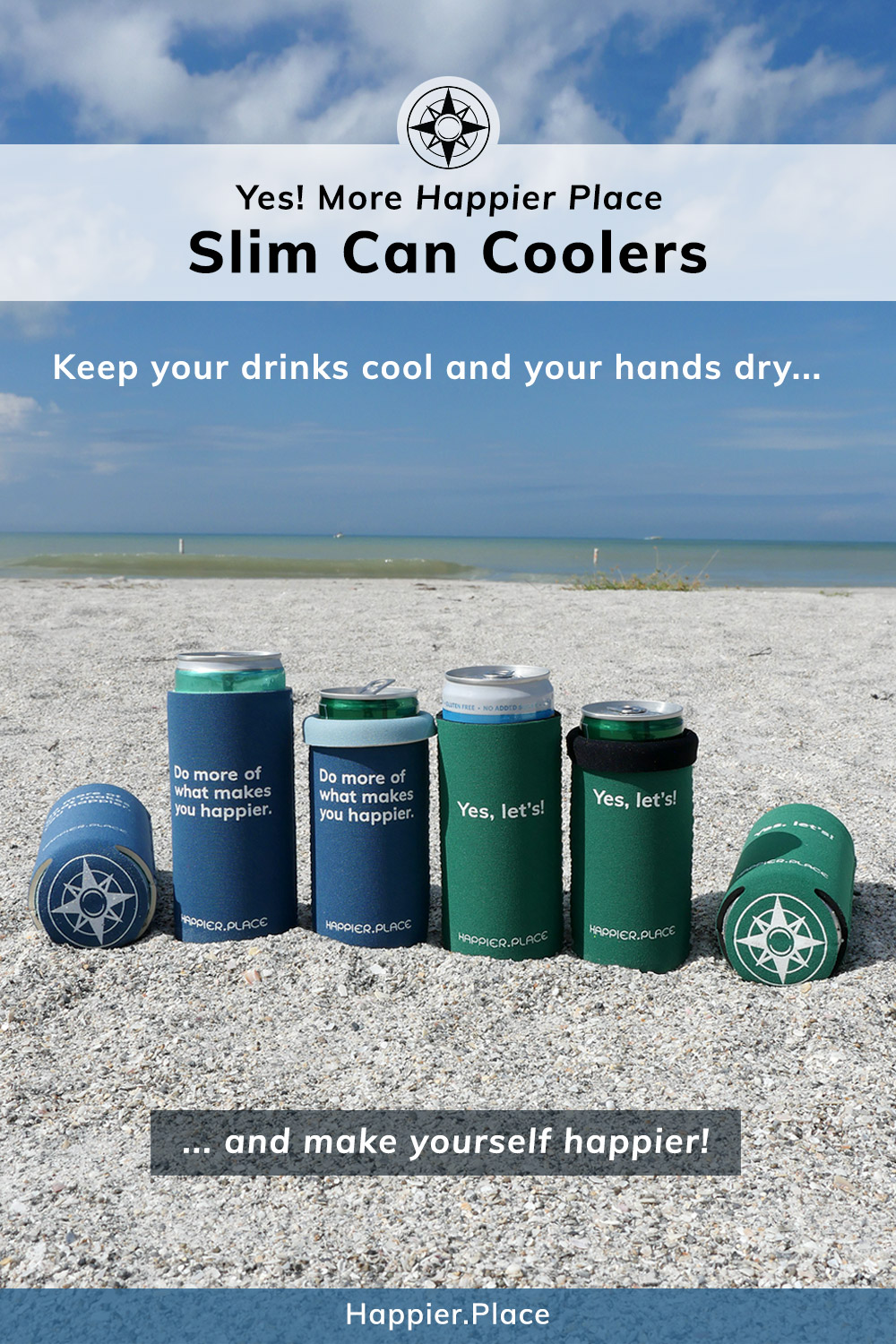 Two new Happier Place Slim Can Coolers (aka cozies, koozies, coolies, can insulators): evergreen \