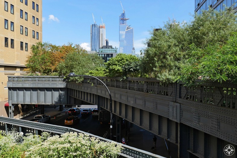 The High Line NYC - Elevated, linear park above Manhattan - and a few of the Hudson Yard buildings.