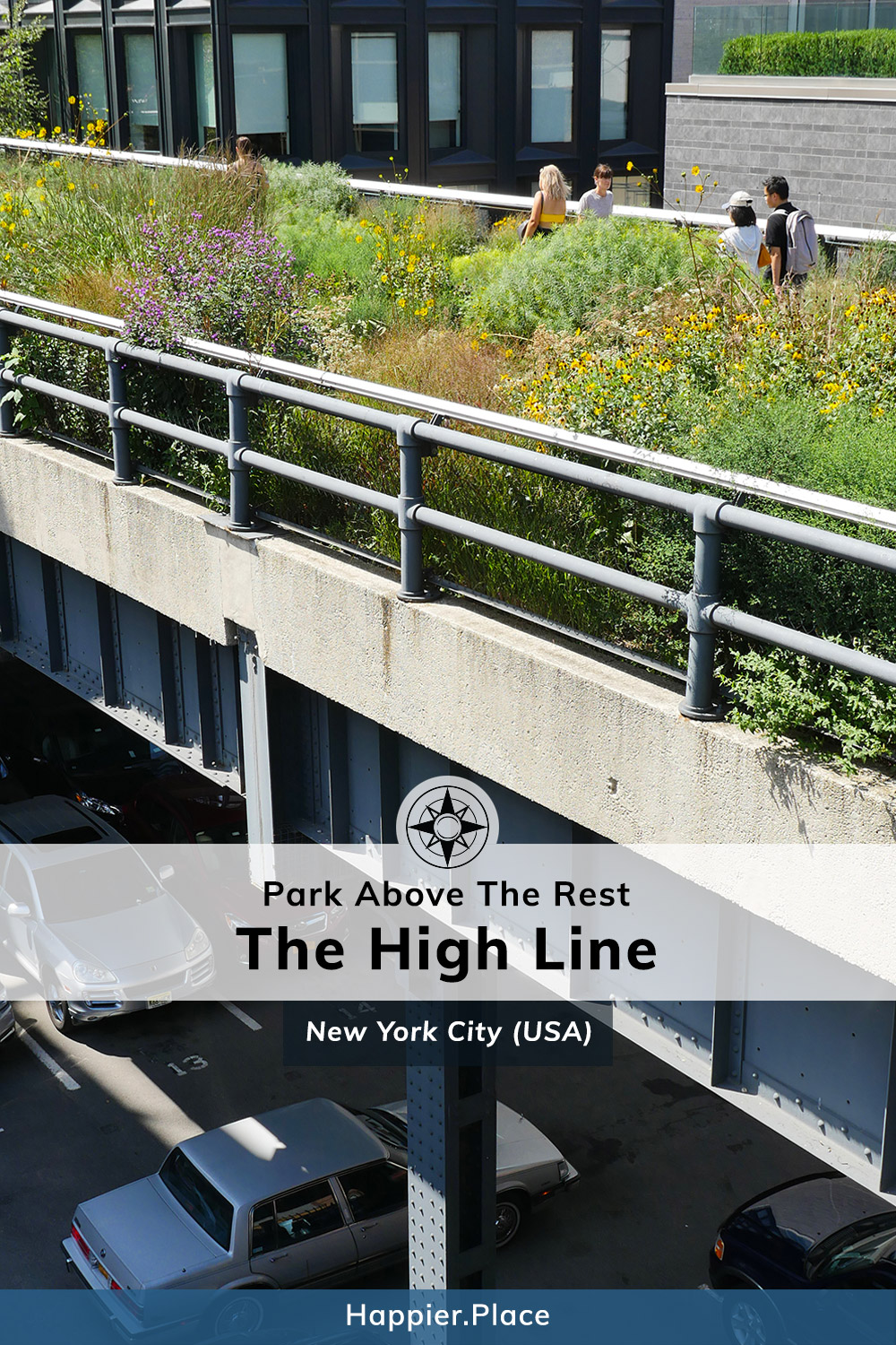 High Line Park above NYC streets and cars