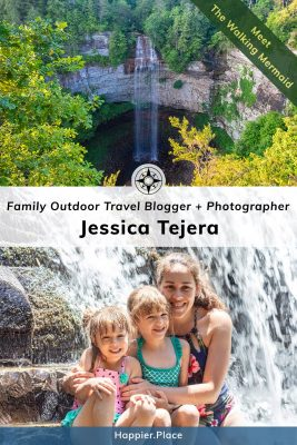 Jessica Tejera, The Walking Mermaid, Family Outdoor Travel Blogger and Photographer - with her daughters and one of her photos featuring Fall Creek Falls.