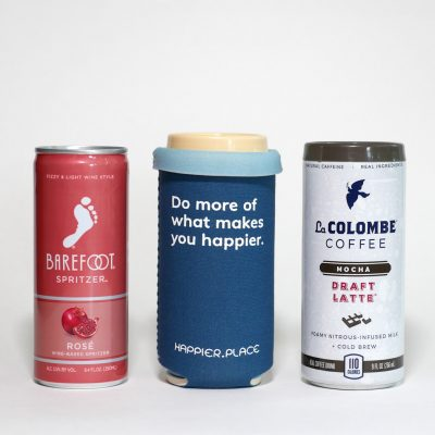 Do more of what makes you happier slim can cooler, fits short 8 - 9 oz cans like Barefoot wine spritzer and LaColombe coffee - Happier Place