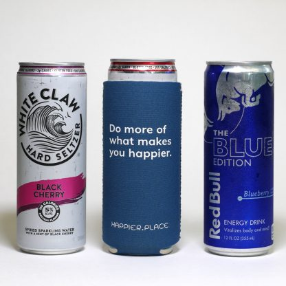 Do more of what makes you happier slim can cooler, fits tall 12 oz slim can, White Claw, Red Bull Limited Edition, Happier Place