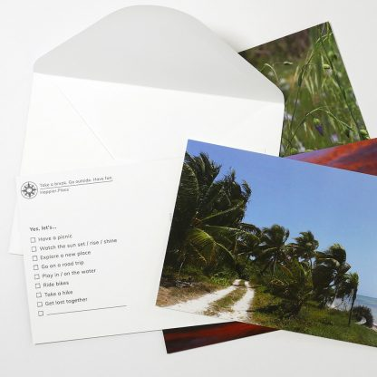 Yes, let's multiple choice postcards, happier place, get outside, beach road, envelope