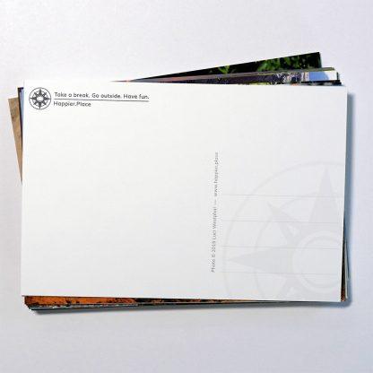 HappierPlace, postcard, front, writing, address