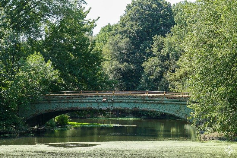 Cast iron Lullwater Bridge seen from the Prospect Park Boathouse