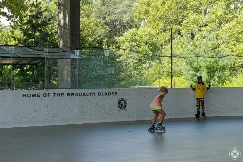 Home of the Brooklyn Blades, girls on rollerblades, LeFrak Center, Lakeside