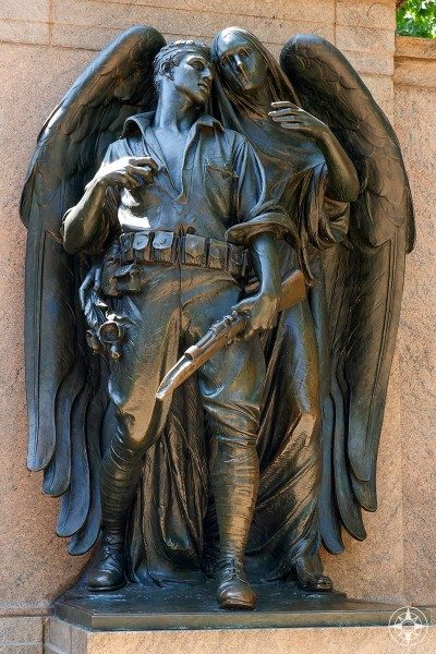 Dark angel and soldier, War Memorial, Prospect Park, Brooklyn