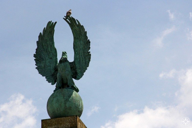 Pigeon on eagle statue, entrance to Prospect Park, Park Slope, Prospect Heights, Brooklyn, NY