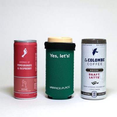 Folded over, Happier Place Yes Let's Slim Can Cozy perfectly fits 8 - 9 oz short cans like La Colombe coffees and Barefoot Wines