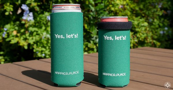 Yes Let's Slim Can Cooler, green, Happier Place, sized for 12 oz and 9 oz