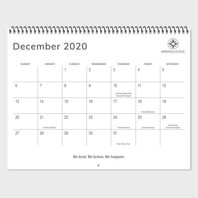 December 2020 calendar page, Happier Place nature photography wall calendar, 2020 holidays, 2020 global holidays, Human Rights Day, Hanukkah, Winter Solstice, Christmas, Boxing Day, Kwanza, New Year's Eve