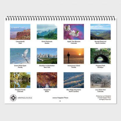 Happier Place 2020 Nature Photography Calendar back cover, overview of 12 calendar pages, Utah, Alaska, Colorado, North Carolina, Florida, New York, Berlin