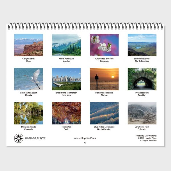 Happier Place 2020 Nature Photography Calendar back cover, overview of 12 calendar pages, Utah, Alaska, Colorado, North Carolina, Florida, New York, Berlin