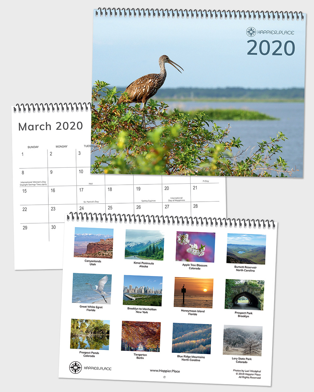The Happier Place 2020 Nature Photography Monthly Wall Calendar is here to make 2020 a happier year! Let the nature photos and inspiring words encourage you every month. And don't miss any dates to celebrate or remember. Nature, landscape, bird, and plants photographed in the Great Outdoors and urban oasis across the USA and Europe. 