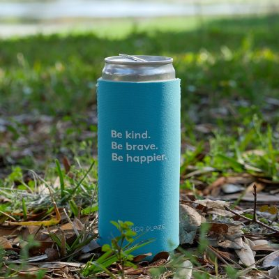 Happier Place - Be Kind Be Brave Be Happier - Slim Can Cooler, tropical blue, in nature