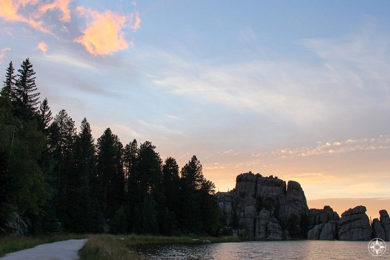 Trail around Sylvan Lake, sunset, South Dakota, Happier Place