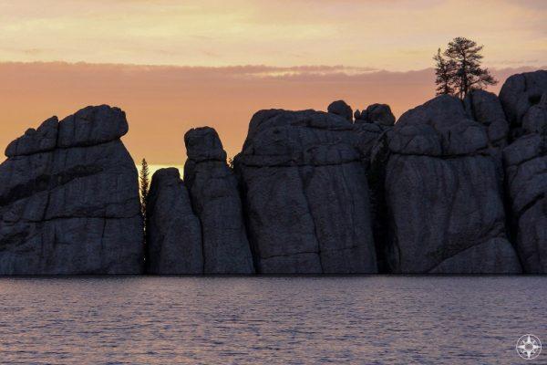 Sylvan Lake rock wall, sunset, Custer State Park, South Dakota