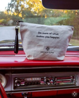 Happier Place Do more of what makes you happier bag, 1964 Fairlane 500 red interior