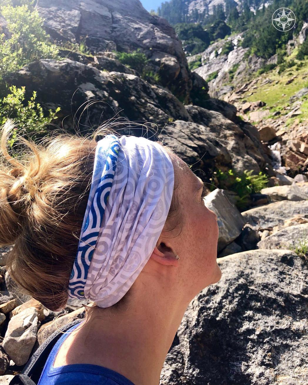 Versatile Happier Bandana worn here as a headband on a Washington trail. #HappierPlace #hikinggear outdoor outfit women\'s fashion #outdoorapparel