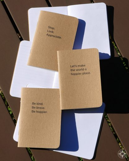 Happier Place pocket notebooks, Stop Look Appreciate, Let's make the world a happier place, Be kind Be brave Be happier, pocket-sized, blank, dotted, lined, recycled, plant-based ink, B corp