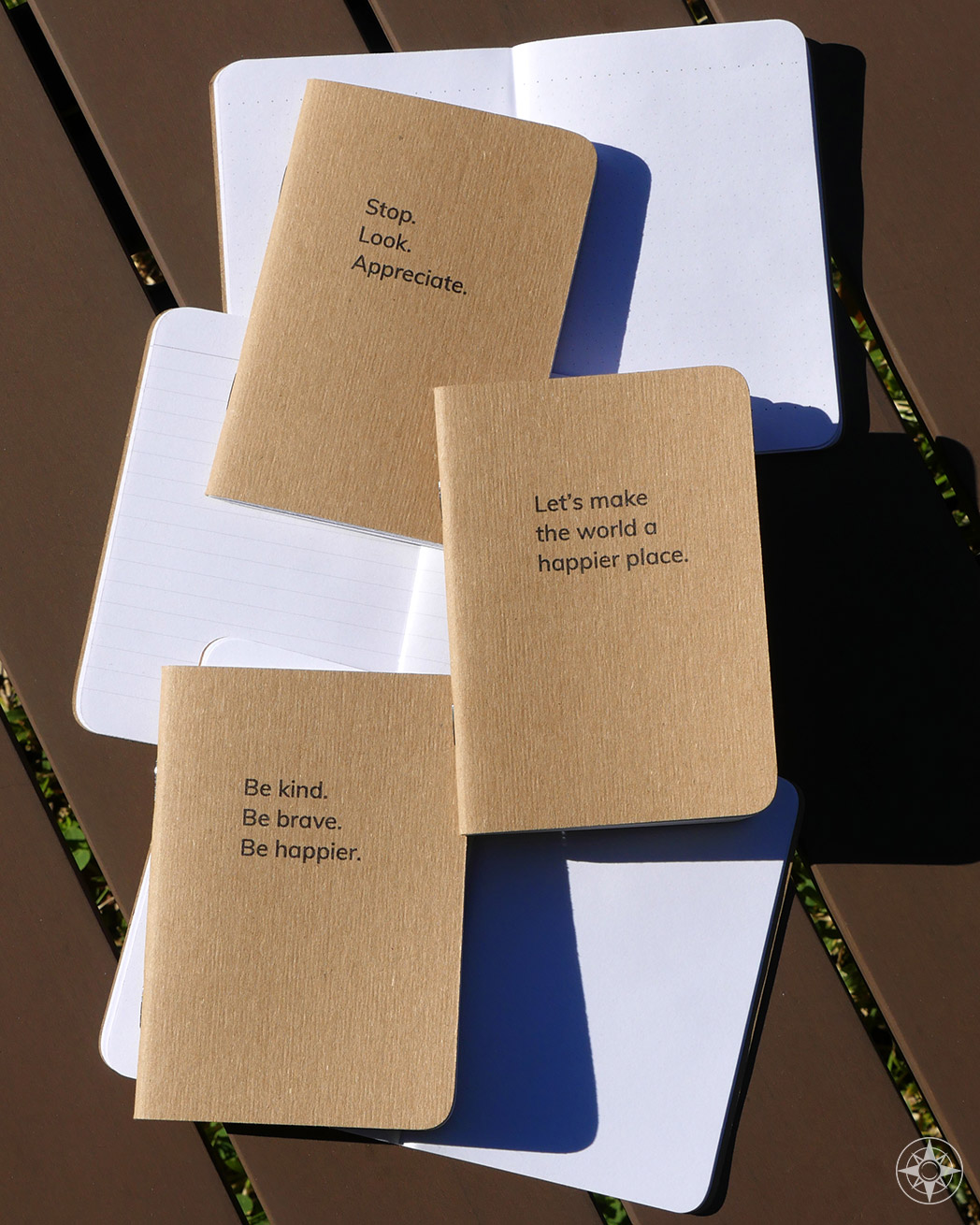 Happier Place pocket-sized notebook collection include three notebooks: \'Stop. Look. Appreciate.\' book with blank pages, the \'Let\'s make the world a happier place\' with lined pages and the \'Be kind. Be brave. Be happier.\' notebook with dot-grid pages. All printed with plant-based ink on recycled paper stock by a B corp.  #HappierPlace #gift #outdoorlifestyle #fieldnotes