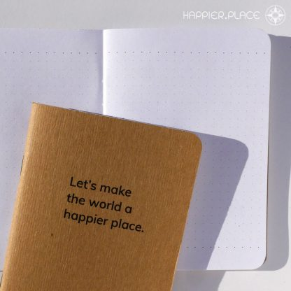 Let's make the world a happier place, pocket notebook, fieldnotes, dot-grid, Happier Place