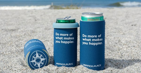 """Happier Place indigo """"Do more of what makes you happier"""" Slim Can Cooler fits 12 oz and 9 oz slim cans"""