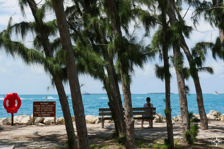woman on a bench looking at sea, Key West, Fort Zachary Taylor Park, Florida, Judith