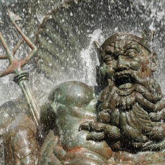 Happy laughing Neptune water fountain statue, Grand Army Plaza, Brooklyn, greeting card, Happier Place
