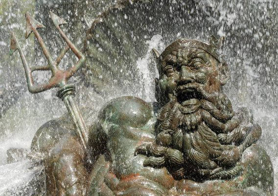Happy laughing Neptune water fountain statue, Grand Army Plaza, Brooklyn, pic153: Neptune, folded greeting card