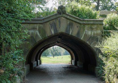 Tunnel Arch Bridge leading into Prospect Park, Brooklyn, green, great lawn
