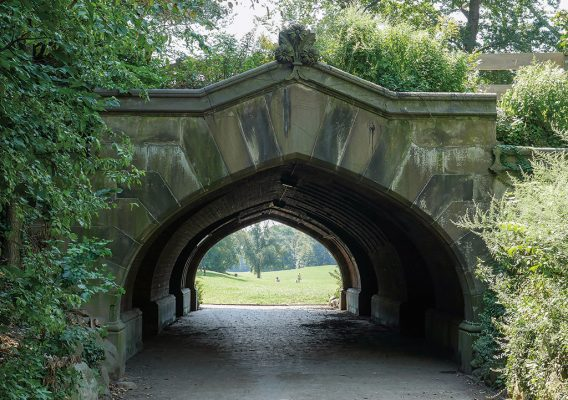 Tunnel Arch Bridge leading into Prospect Park, great lawn, Brooklyn, pic154: Prospect Park Arch, folded greeting card