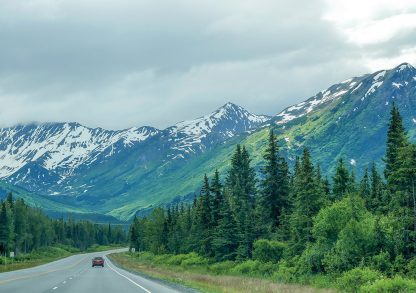 Alaska Highway, snow-covered, green mountains, Kenai Peninsula, pic157: Alaska mountain highway, folded greeting card