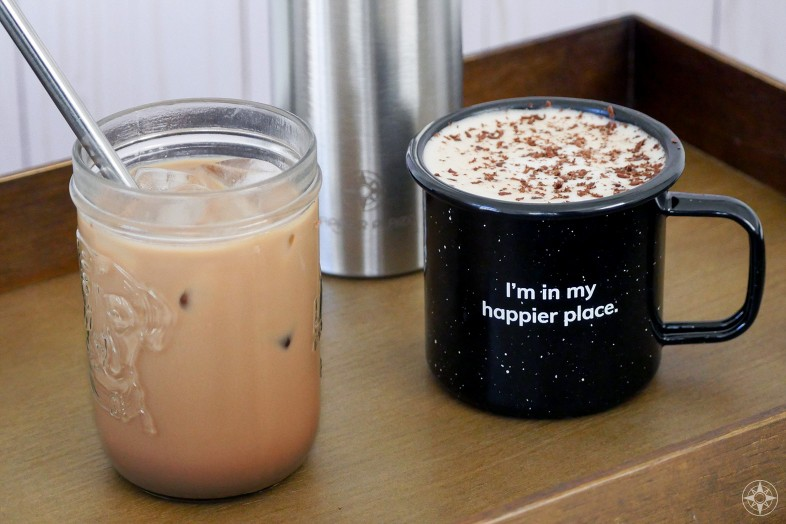 Happier Vegan Iced and Hot Mocha recipe, I'm in my happier place enamel mug
