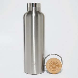 Happier Place insulated stainless steel bottle with bamboo top, 25 oz