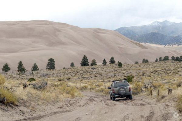 Driving in Great Sand Dunes National Park, Colorado, 4WD, SUV, Medano Pass primitive road,