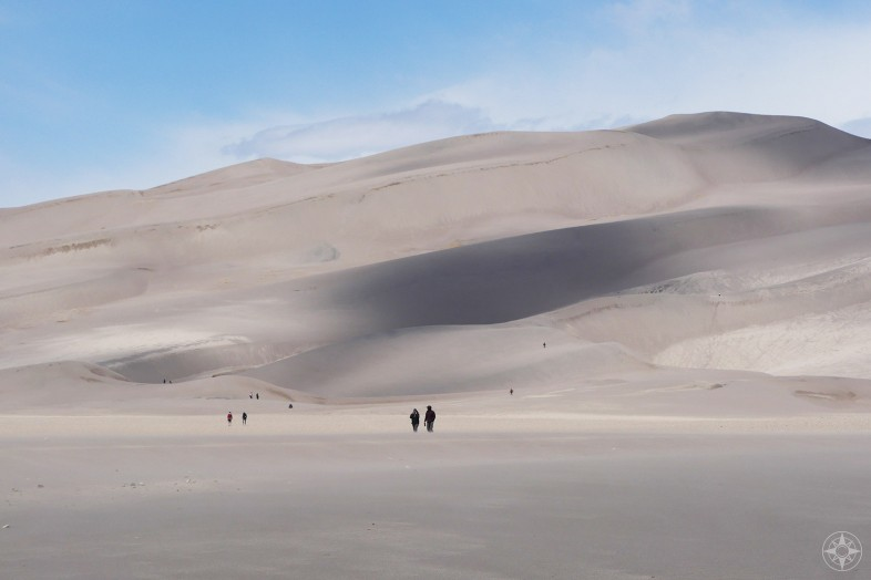 People walking along the Great Sand Dunes in the main day use area, Colorado, National park, HappierPlace
