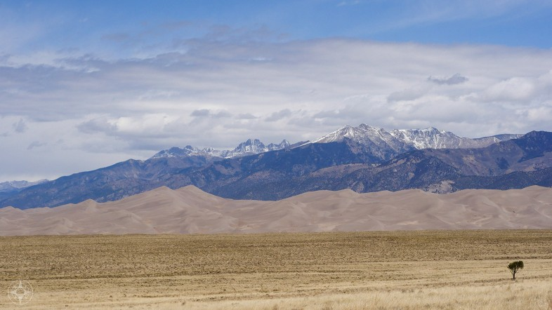 Great Sand Dunes National Park, sand field, dune field, tallest dunes of north america, snow-capped Sangre de Cristo mountain peaks