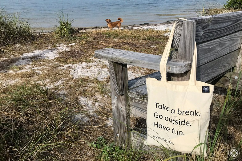 Take a break cotton shoulder bag hanging on beach bench, Happier Place, go outside, have fun, whiskey dog