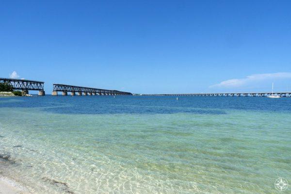 Old Bahia Honda Bridge on the left, new Overseas Highway Bridge on the right, skinny water of Calusa Beach and deepest water of Bahia Honda Channel in-between, Florida Keys