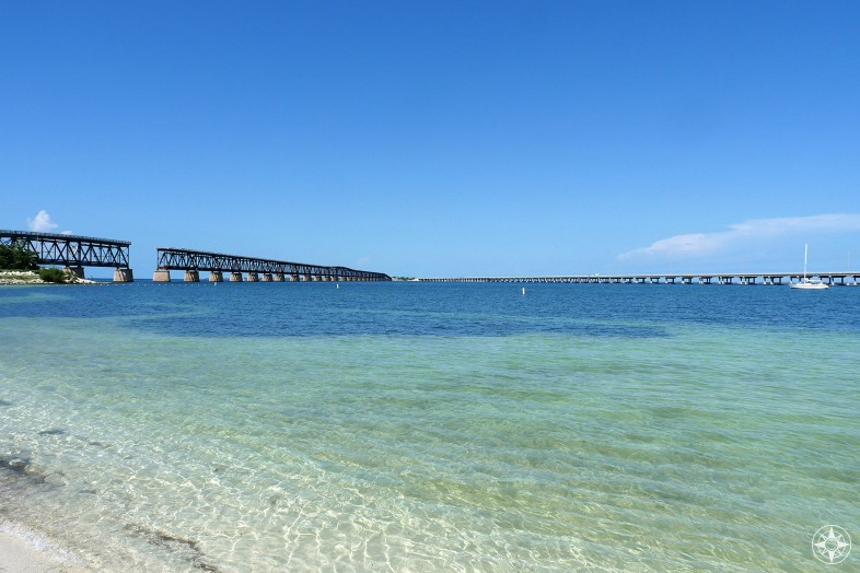 Old Bahia Honda Bridge on the left, new Overseas Highway Bridge on the right, skinny water of Calusa Beach and deepest water of Bahia Honda Channel in-between, Florida Keys