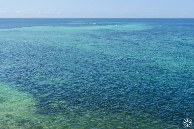 Boat approaching the tiny island that belongs to Bahia Honda State Park, The Keys, Florida