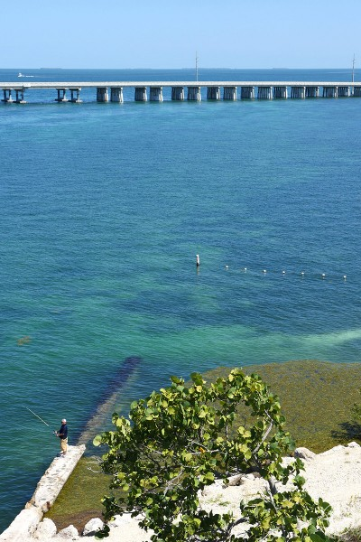 Man fishing from the seawall of Old Bahia Honda Bridge with Overseas Highway in background, clear blue water, Florida State Park, Florida Keys, HappierPlace