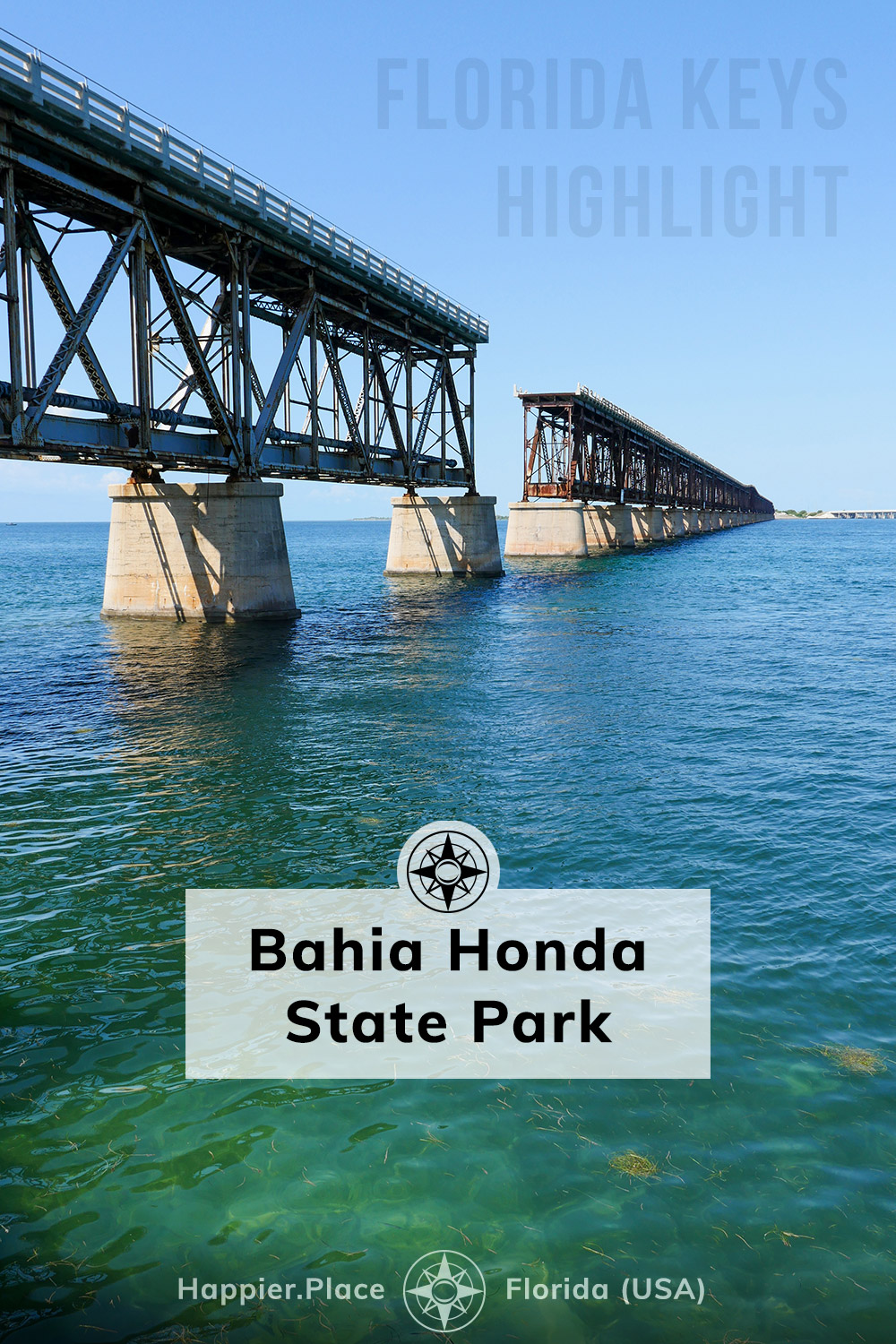 The 100-year old abandoned Bahia Honda Bridge adds a photographic accent and a stunning vantage point to see the gin-clear waters around the Florida Keys. Explore the bridge, beaches and clear water at Bahia Honda State Park, near Key West on the Florida Keys in Florida, USA.  #HappierPlace #Florida #travelguide #USA #FloridaKeys