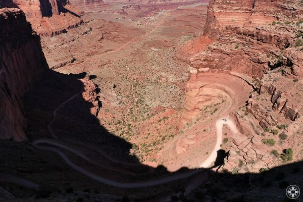 Shafer Trail serpentines down into Shafer Canyon from Island in the Sky in Canyonlands.