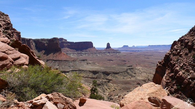 The view you'd see from the False Kiva in Canyonlands, Moab, Utah.