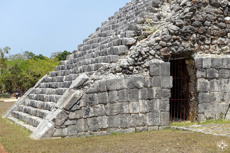 Entrance below the stairs into El Castillo pyramid