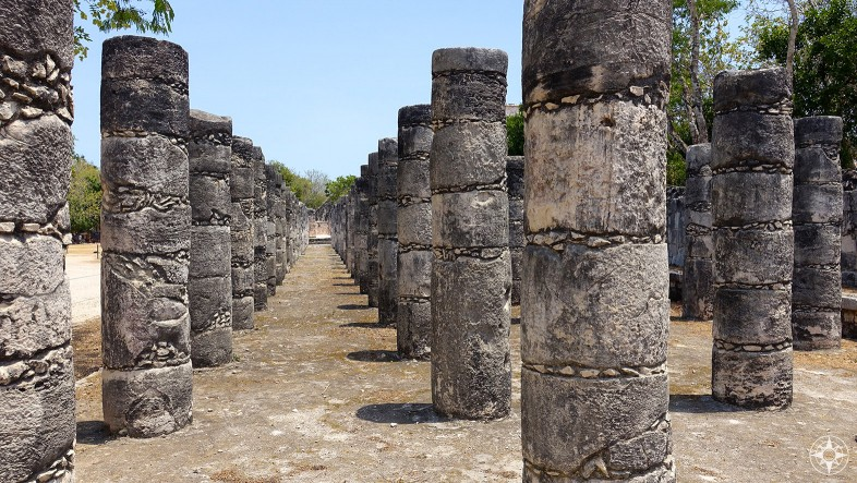 Group of the Thousand Columns, Each column at the Templo de los Guerreros and the One Thousand Columns represents a different warrior Chichén Itzá, Mexico
