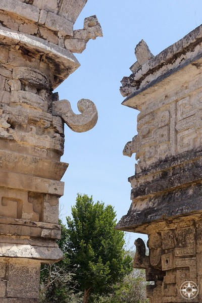 Maya ruins, facade details, Masks with different noses and negative space, Las Monjas Group, Chichén Itzá, Mexico