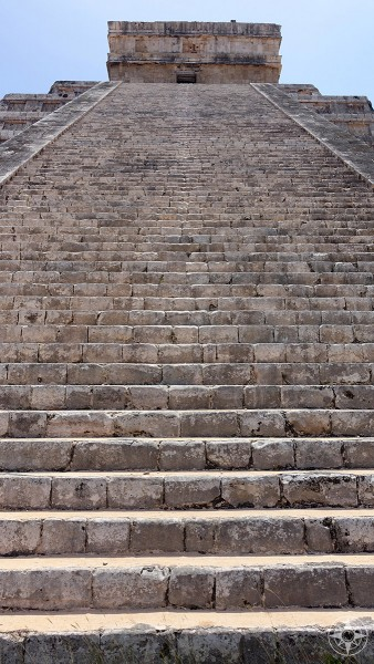 365 steps lead up from the plaza to the temple at the top of the El Castillo pyramid in Maya city of Chichen Itza